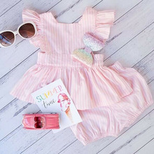 1-6 Years Toddler Kid Baby Girls Striped Ruffle Backless Tops Dress Shorts Pants Summer Sleeveless Outfit Clothes 2019 New girls ruffle detail striped dress