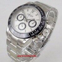 39 мм PARNIS белый циферблат сапфировое стекло, кварцевый хронограф мужские часы P1077