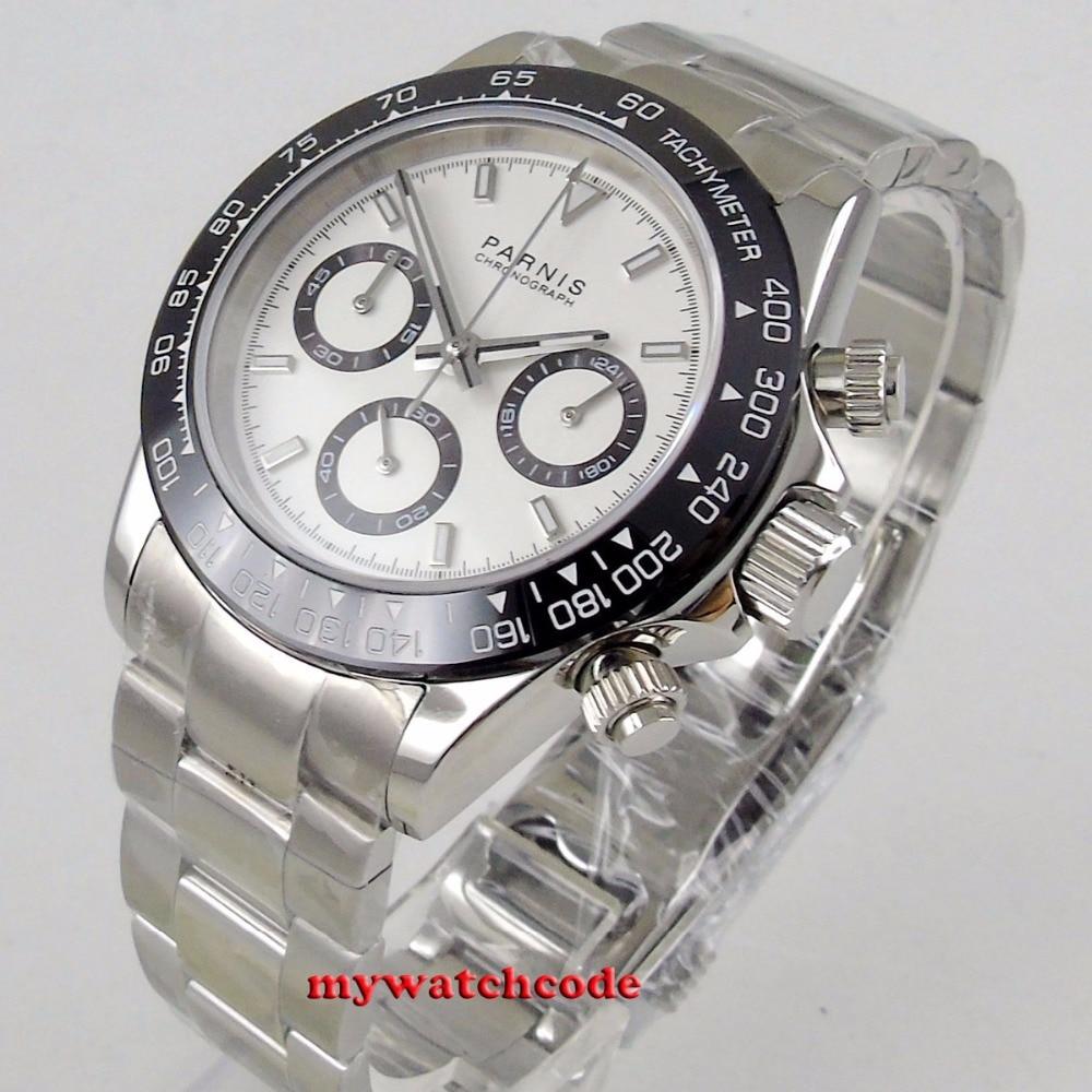 39mm PARNIS white dial sapphire glass solid full Chronograph quartz mens watch P1077