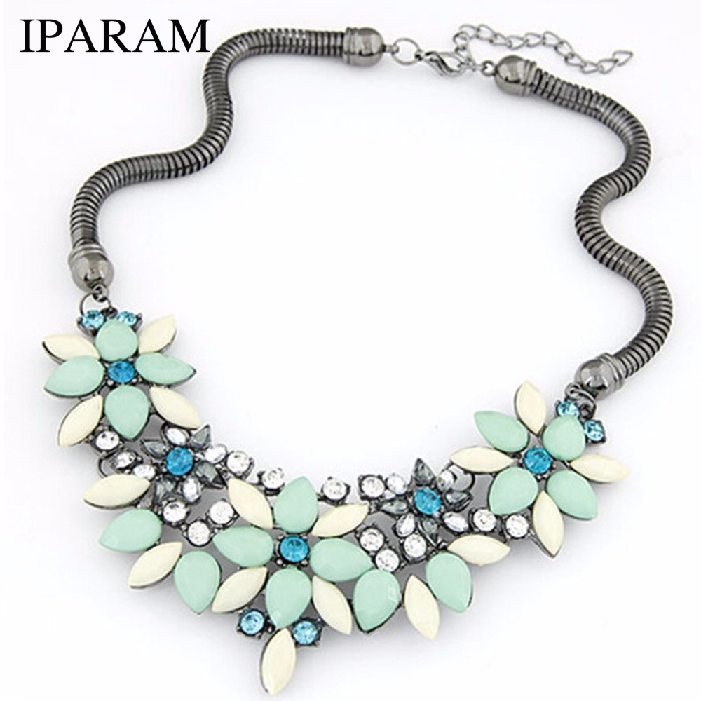 IPARAM 2018 New sell Fashion Retro style Colorful gem rhinestone flower choker necklace