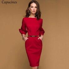 ดินสอสีแดงชุดสตรีฤดูใบไม้ร่วงสีทึบDrapedโคมไฟสำนักงานเลดี้ 3/4 Sleeve Elegant Bodyconชุด (ไม่มีเข็มขัด)