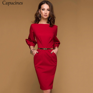 Image 1 - Red Pencil Dress Women Autumn Solid color Draped Lantern Sleeve Office Lady Dress 3/4 Sleeve Elegant Bodycon Dresses(No Belt)