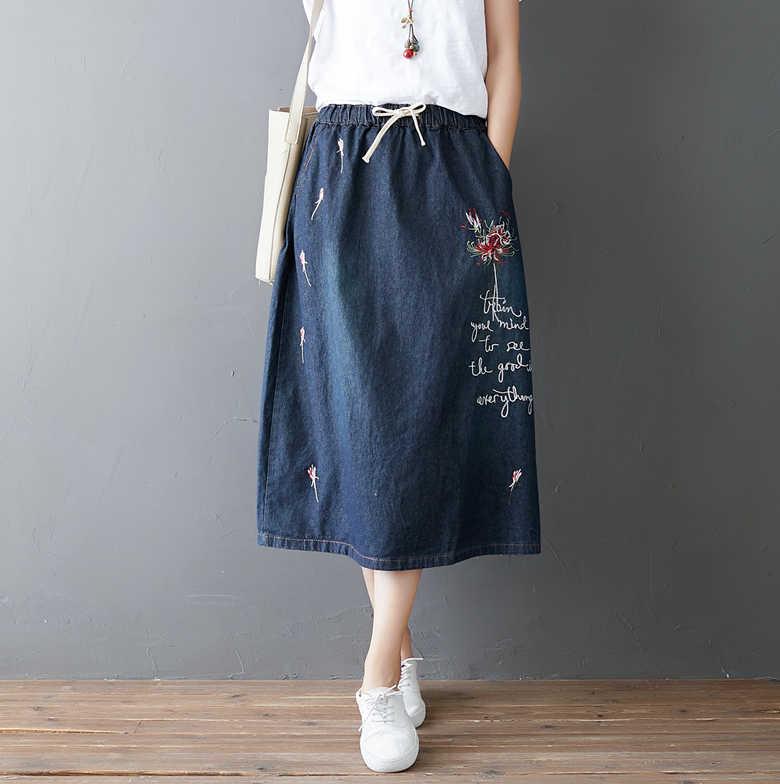Японский Harajuku Хиппи Boho Этническая Мори девушка цветочной вышивкой синие джинсы хлопок эластичный пояс для женщин демисезонный юбка