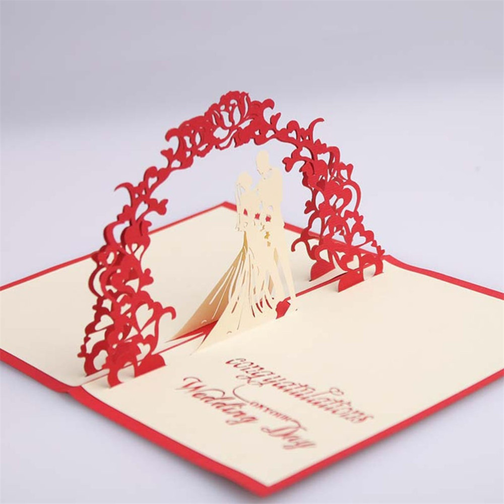 Hot sale 1 pcs red unique design 3d bride groom wedding invitation hot sale 1 pcs red unique design 3d bride groom wedding invitation cards with envelopes seals wholesale in cards invitations from home garden on stopboris Image collections
