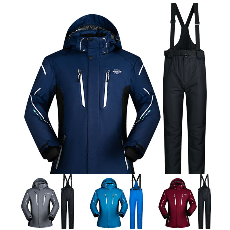 Лыжный костюм Для мужчин зима 2018 Водонепроницаемый ветрозащитная теплая зимняя одежда Для мужчин лыжные комплекты куртка Лыжный спорт и Сн...