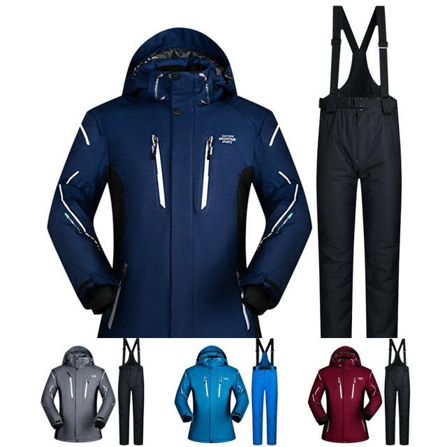 Лыжный костюм для мужчин зима 2018 водонепроницаемый ветрозащитный утолщенный теплый зимний костюм мужские лыжные комплекты куртка лыжный костюм для катания на лыжах и сноуборде бренды