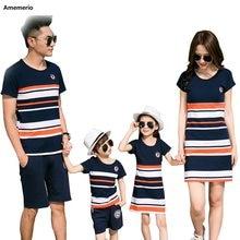 2020 letnia koszulka w paski stroje matka i córka sukienki i ojciec syn Baby Boy Girl rodzina pasujące rodzinne stroje