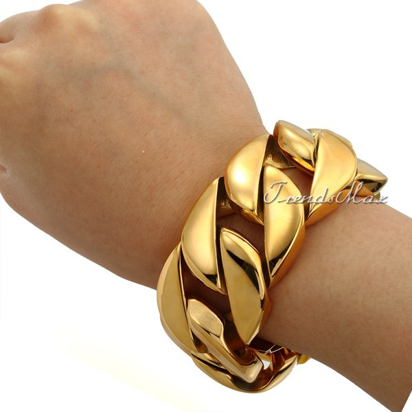 bracelet thick gold isolated white stock photo on image