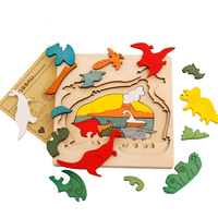 Montessori Wooden Puzzle Jurassic Park 3D Dinosaur Puzzle Bois Puzzles Children Early Learning Educational Wood Puzzle