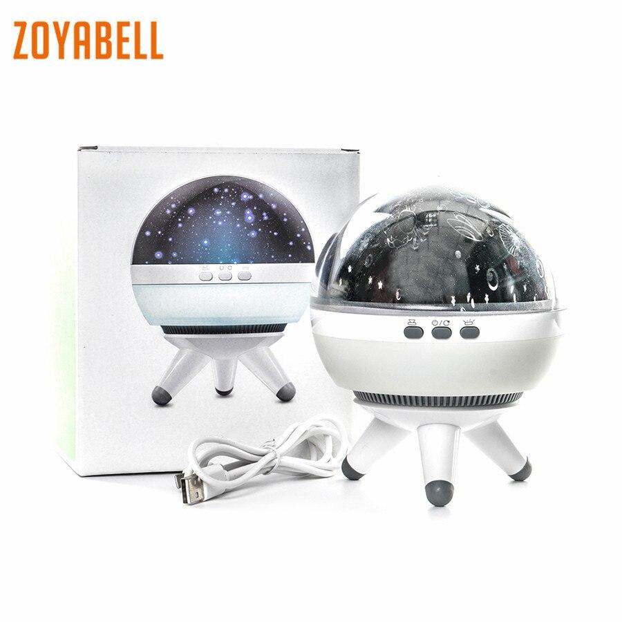Zoyabell giratoria luz de la noche del proyector de estrellas bebé niños dormir romántica Led Spin Starry Sky Star maestro batería USB Lámpara