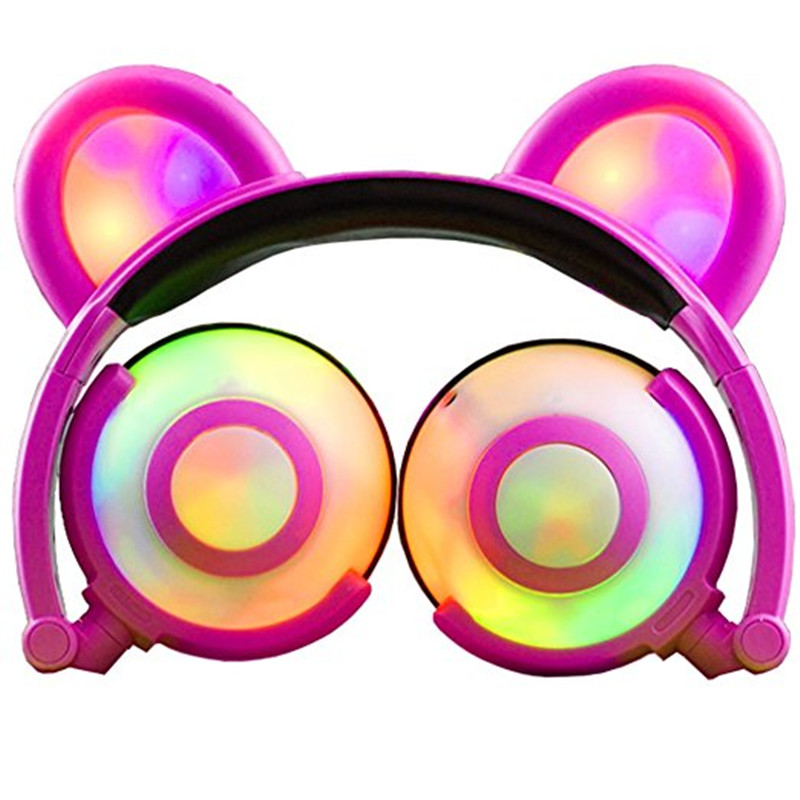 Foldable Bear Ear Recharging Headphones Panda Gaming Headset With Glowing LED Light halloweeen gift for girls kids adults Phones kz headset storage box suitable for original headphones as gift to the customer