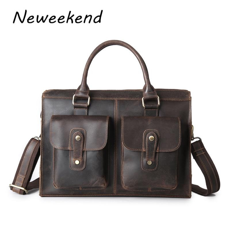 NEWEEKEND 3542 Vintage Casual Leather Crazy Horse Multi-Pocket 13 Inch Cowhide Handbag Crossbody Laptop Briefcase Bag for Man