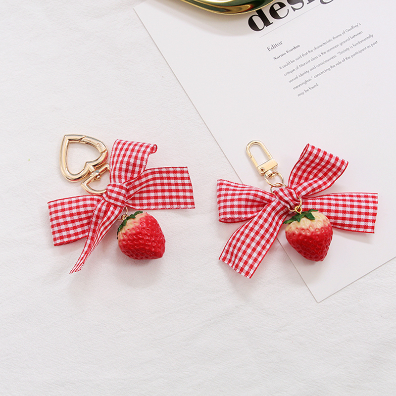 1PC Lovely Ribbon Strawberry Keychain Keyring For Women Girl Jewelry Simulated Fruit Bowknot Cute Bag Car Key Holder Keyring K37
