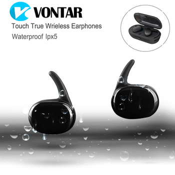 VONTAR Touch Control Mini Twins Earbuds TWS Earphone WaterProof Bluetooth headphone with charging box Handsfree  Airpods Style  magnetic attraction bluetooth earphone headset waterproof sports 4.2