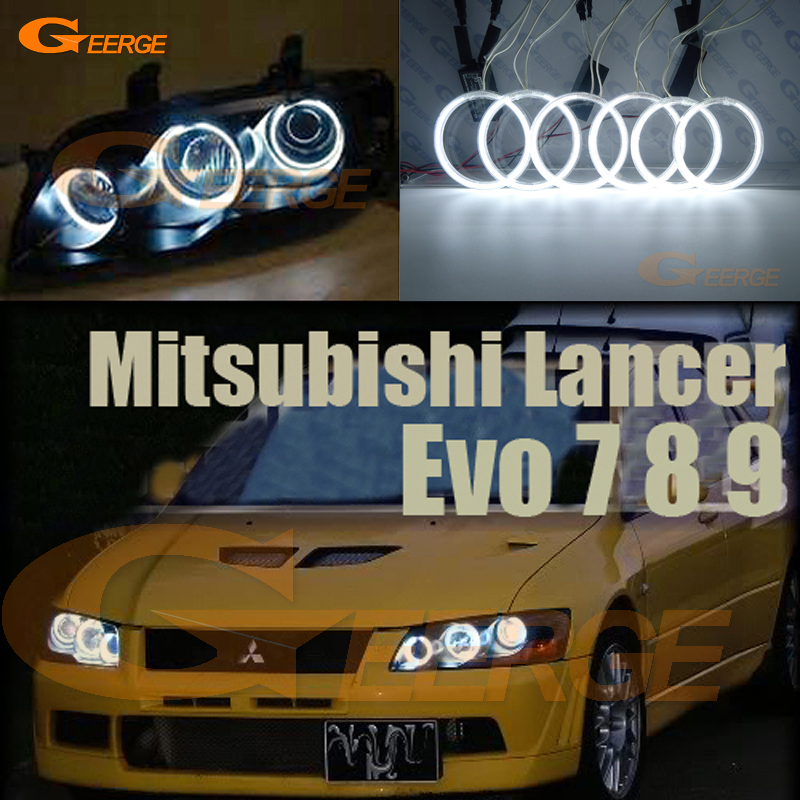 Pour Mitsubishi Lancer Evo 7 8 9 2002-2007 Excellent Angel Eyes Kit éclairage ccfl angel illumination ultra brillante Halo Ring