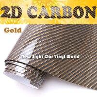 Высокое качество золотой глянцевый 2D углеродного волокна виниловая пленка воздушный пузырь для автомобильных обертываний Размер: 1,52*30 м/ру