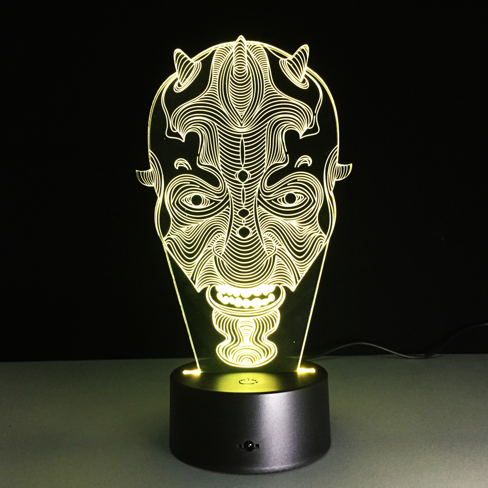 Star Wars Darth Maul Wajah 3D Led Light Lampu Meja Hias USB LED Kreatif 3D Pencahayaan Lampu Visual Lampu Malam Hadiah Chrismas