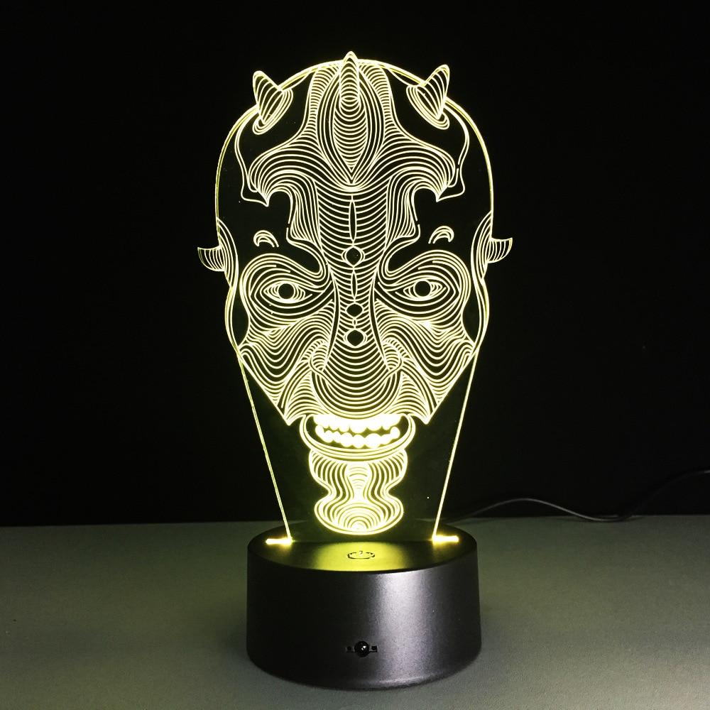 Star Wars Darth Maul Face 3D Lampada da tavolo a luce decorativa a LED USB LED Lampada di illuminazione creativa 3D Luci notturne visive Regalo di Natale
