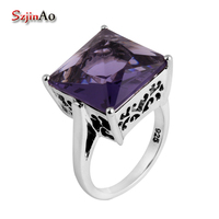 Szjinao Processing Victoria 925 Sterling Silver Amethyst Rings 925 Sterling Silver Wedding Rings for Women