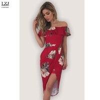 LZJ Fashion Female Elegant Retro Floral Prints Leopard Back Dress Fashion Sexy Lips Shoulder Leisure Slim