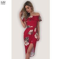 LZJ Fashion Female Elegant Retro Floral Prints Leopard Back Dress Fashion Sexy Lips Shoulder Leisure Slim