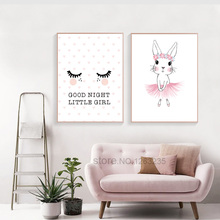 Pink Rabbit Baby Girl Room Decor Nordic Poster Nursery Wall Picture For Children Rooms Art Canvas Painting