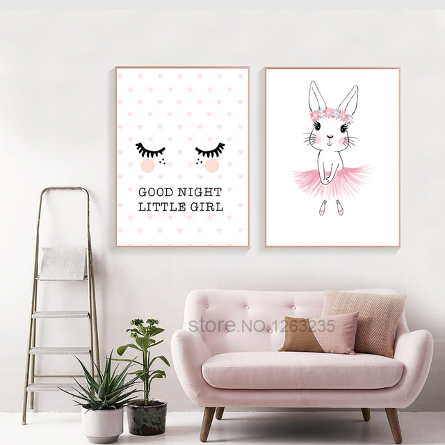 Baby Girl Nursery Decor Pink Rabbit Baby Girl Room Decor Nordic Poster Nursery Wall Picture For  Children Rooms Wall Art
