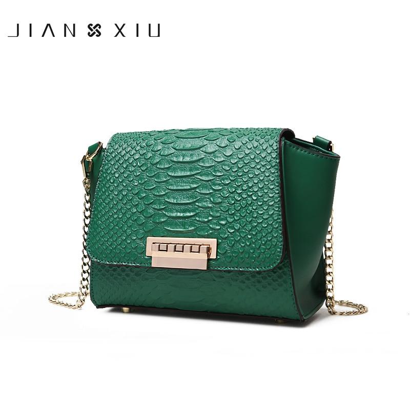 JIANXIU Brand Women Messenger Bags Shoulder Crossbody Split Leather Bag Crocodile Texture Pattern Small Bag Chain