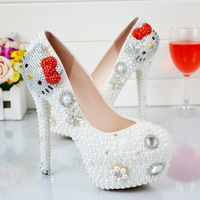 Big Code Kt Cat Red Bow Tie, Pearl Crystal Wedding Shoes, High Heel Drill Waterproof Table, Wedding Shoes With Bride's Shoes.