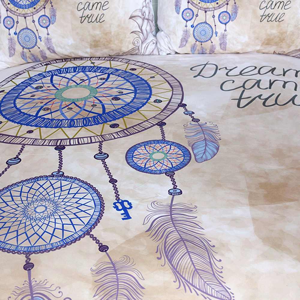 Постельный комплект с ловцом снов, комплект пододеяльников с принтом королевских перьев, Комплект постельного белья в богемном стиле, 3 предмета, одежда для сна, домашний текстиль