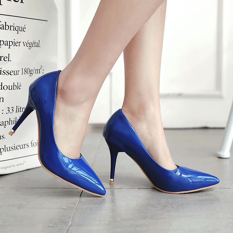 Brand Large Size Shoes Woman High Heels(9cm) Pumps Women Shoes Pointed Toe Elegant Party Wedding Causal Ladies Shoes 34-43