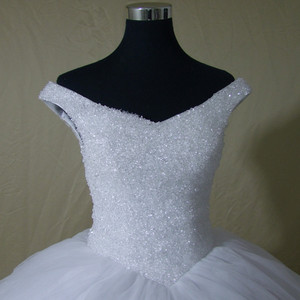 Image 3 - QQ Lover 2020 Plus Size New Luxury Bling Bling Crystals Train Ball Gown Wedding Dress Lace Up Back