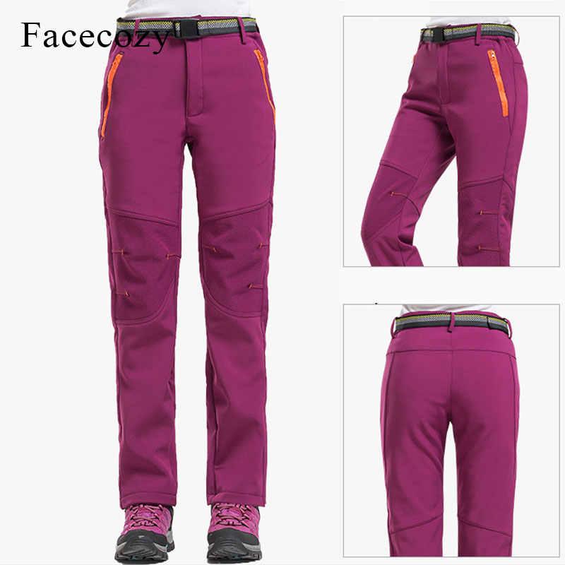 Facecozy 女性冬ソフトシェルハイキングパンツアウトドアスポーツ防風防水フリース暖かいパンツ女性スキーズボン