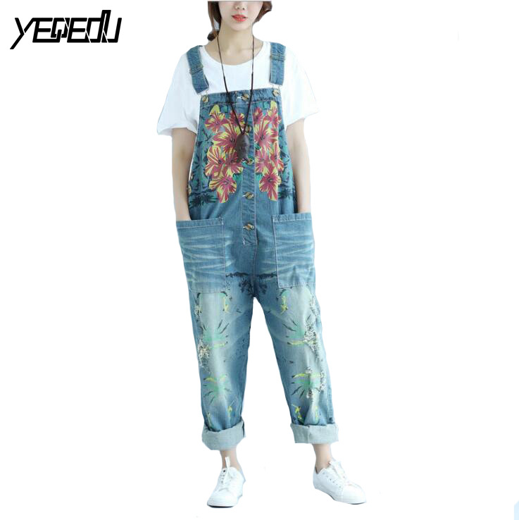 1720 2017 Denim overalls women Big size Loose Vintage Printed Cross jeans Wide leg Ladies
