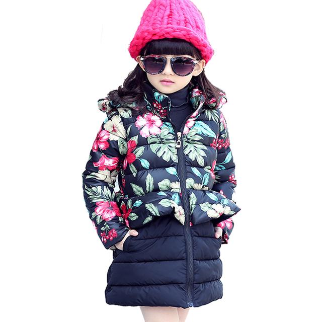 Casacos de Inverno 2016 Da Moda Coreano Meninas das crianças Para Baixo Bebê Casacos De Inverno Parkas Crianças Outerwear Menina Casacos Quentes Com Capuz Floral