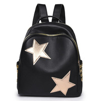 PU Leather Fashion Backpack Women Travel Portable Shoulder Bags Girl School Bag Large Capacity Star Decoration