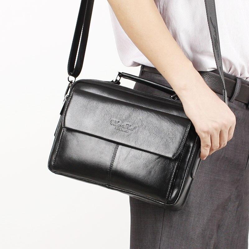 Sac à bandoulière en cuir véritable pour hommes sac à bandoulière homme petits sacs Messenger sacs à main d'affaires sac fourre-tout décontracté