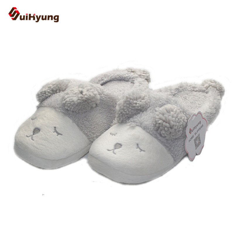 SuiHyung Winter Cute Squinting Sheep Home Slippers Warm Plush Hairball Couple Indoor Shoes Soft Non-slip Floor Bedroom Slipper women floral home slippers cartoon flower home shoes non slip soft hemp slippers indoor bedroom loves couple floor shoes