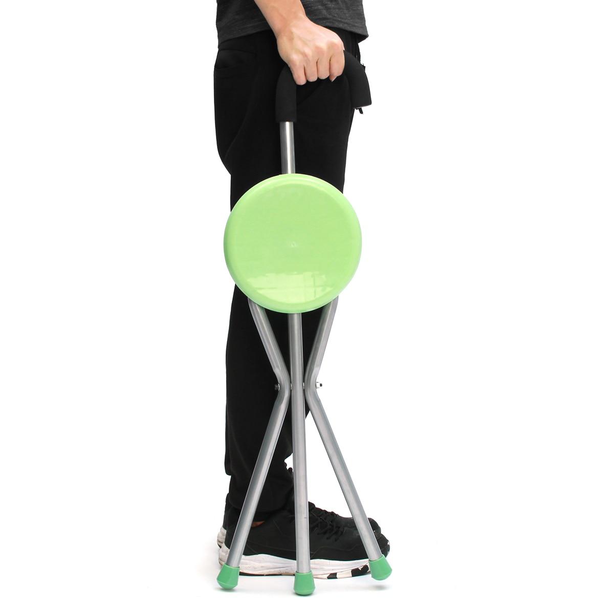 Camping Folding Aluminium Tripod Cane Walking Stick Seat Portable Stool Chair Plastic Seat Non Slip Max Load Bearing 130kg folding cane chair walking stick with tripod stool