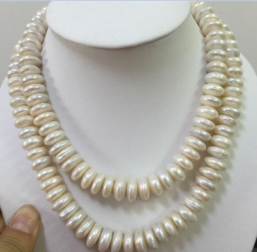 38inch 10 11MM natural cultured freshwater white baroque pearl necklace