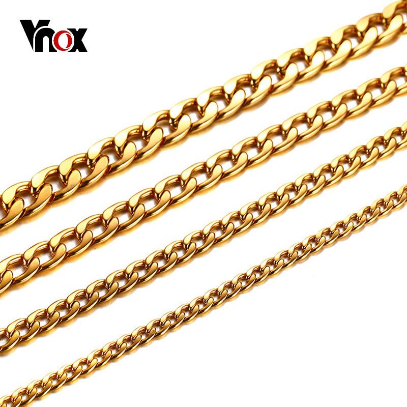 Vnox Punk Rock Gold Color Heavy Curb Chain Necklace for Men Top Quality Stainless Steel Slim Chains Tough Male Jewelry