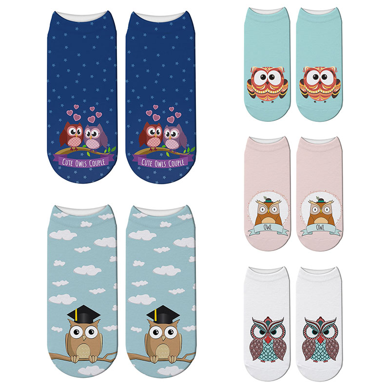 New 3D Printed Harajuku Owl Socks Animal Women's Owl Parttern Cotton Socks Cat Printed Cute Japanese Funny Socks