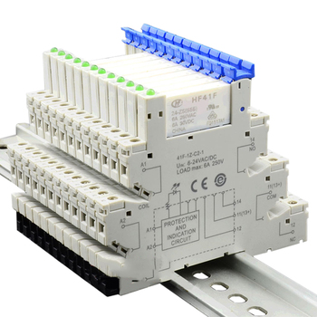 HF41F 24-ZS 1pcs Slim Relay Din Rail PCB Power Relay Holder Coil 24VDC Contact 6A 250VAC 5Pin Voltage Relay Module &Board
