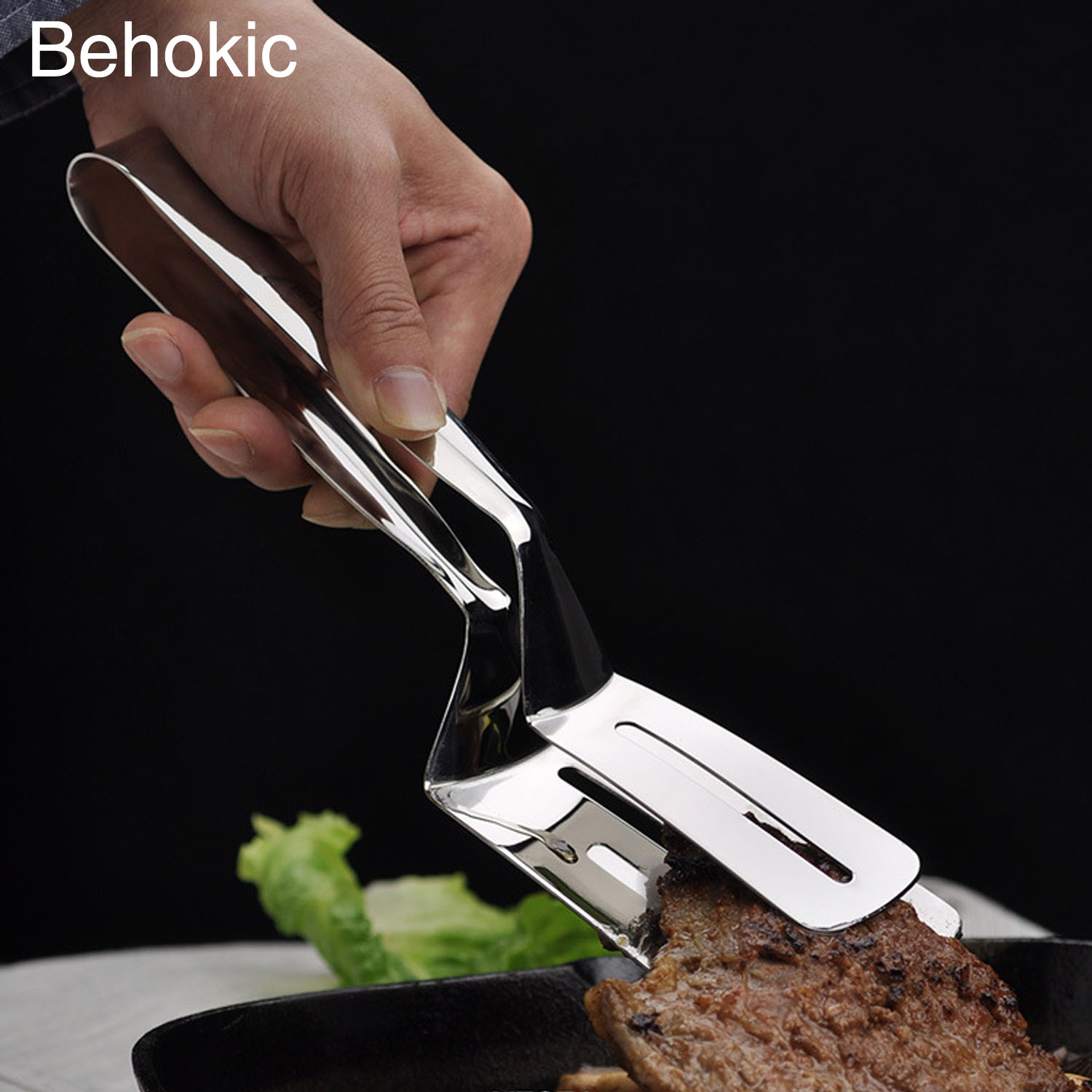 Behogar Multifunctional Stainless Steel Barbecue Clip BBQ Tongs Fried Steak Pie Pizza Bread Meat Clamp Cooking Tools