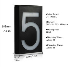 Solar Led Light Solar 6 LED Illumination Doorplate Lamp House Number Outdoor Lighting Porch Lights With Solar Battery