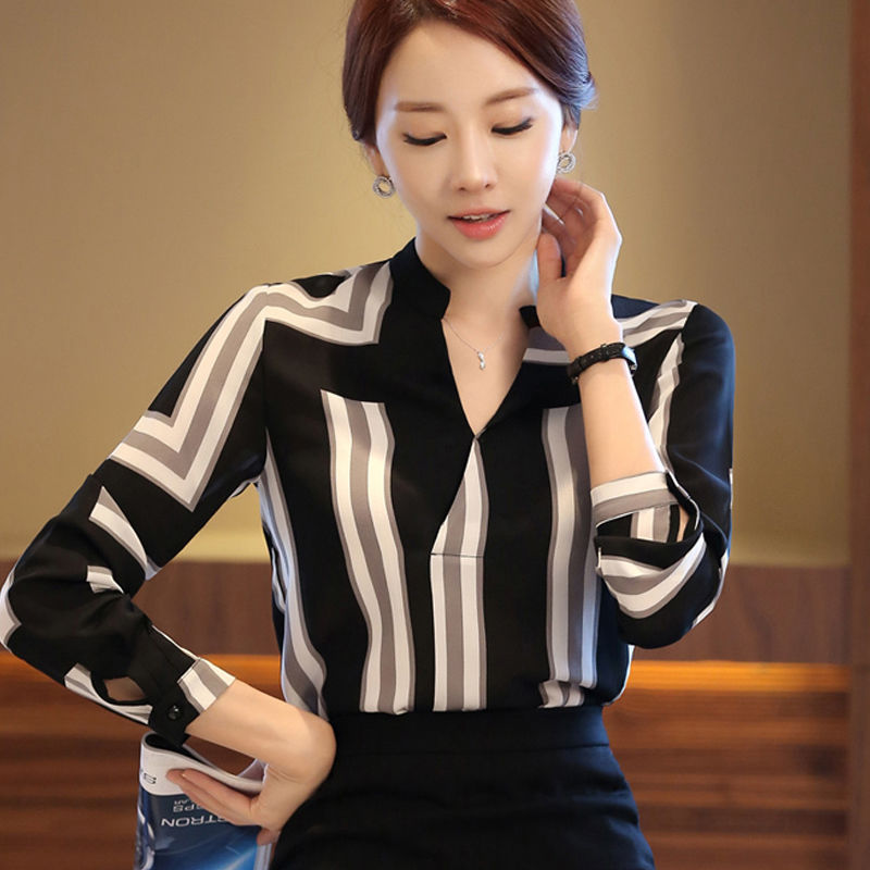 Women Tops Blouses 2019 Spring&summer Elegant Long Sleeve Striped V-Neck Chiffon Blouse Female Work Wear Shirts Blouse Plus Size