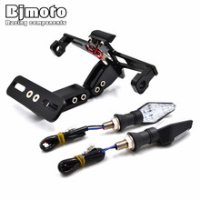 BJMOTO Universal Adjustable Motorcycle License Plate Frame Licence Holder Motorcycle Number Plate Holder With Turn Single Lights