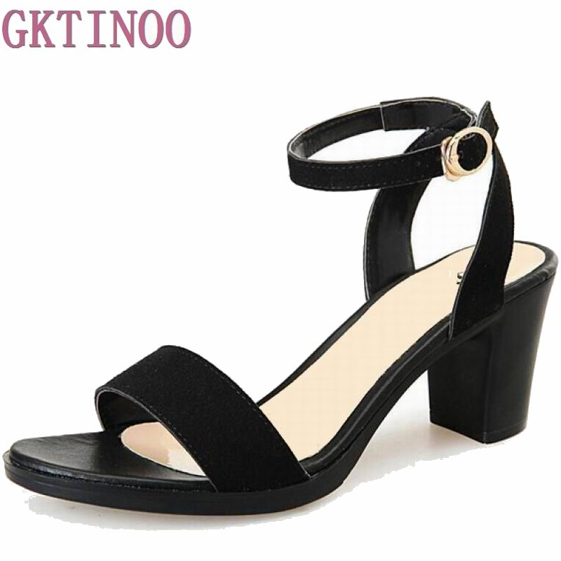 Summer Shoes Woman 2017 Square Heels Ankle Strap Buckle Women Sandals Flock Thick Mid Heels Sandals Woman xiaying smile woman sandals summer square cover heel closed toe woman pumps buckle strap fashion casual hollow flock women shoes