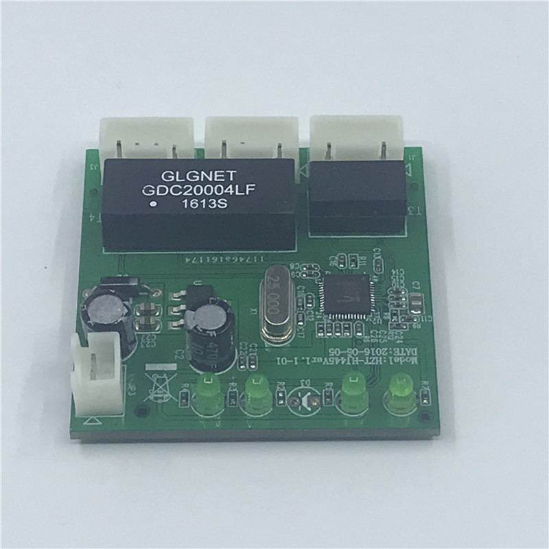 Image 4 - OME 3 Ports Switch module PCBA 4 Pin Header UTP PCBA Module with LED Display Screw hole positioning Mini PC  Data OEM Factory-in Network Switches from Computer & Office