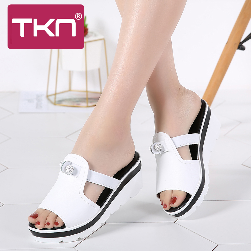 d2c24e6dfb3 TKN 2019 Summer women slippers cow leather Open Toe Thick Soled beach shoes  flip flops women